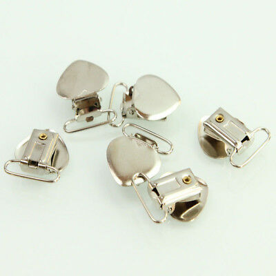 20 Pcs Metal Holder Insert Pacifier Heart Shape Suspender Clips Duckbilled Clamp