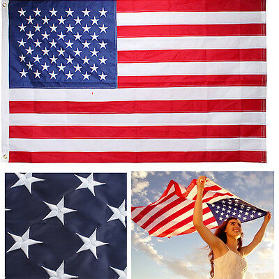 3'x5' Ft American Flag Embroidered USA U.S. US Stars Sewn Stripes Grommets Nylon