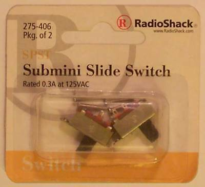 SPST Submini Slide Switch ~ 0.3A at 125VAC ~ 2/PK ~ RadioShack 275-406