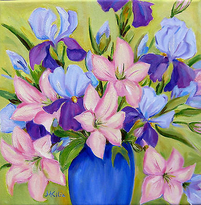 Pink LILIES and IRIS  Original Flower Oil Painting  Wall  Art Deco Canvas Signed