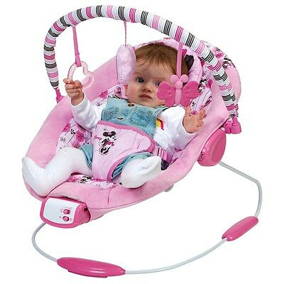 Disney Minnie Mouse Pink Bouncer chair - Baby Girl Newborn Vibrating musical New