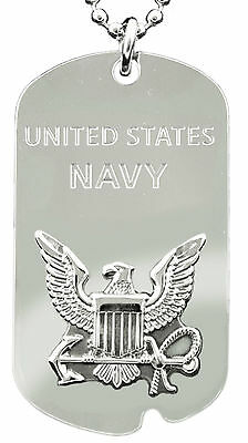 Military United States Navy Dog Tag / Key Chain Engravable on Back New