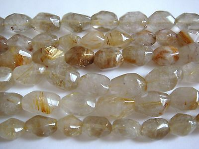 "10x15mm Smooth Nugget Shape Golden Rutilated Quartz 15""-16"" INCH Stones Beads #"