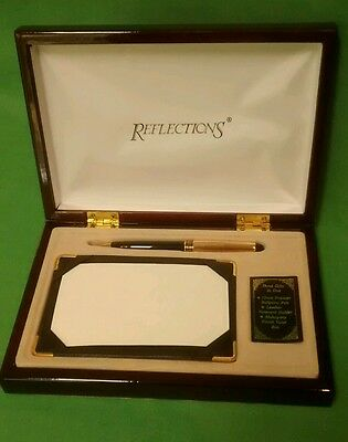 Reflections Mahogany Box Set w/Blk & Gold Laquer Pen,Leather notecard holder