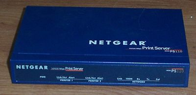 Netgear Ps110 10/100 Mbps Print Server -With Uk Ac Adapter