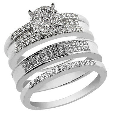 His and Hers 3 Pieces Sterling Silver and CZ Engagement Wedding Trio Set Band