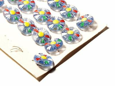 Card (19) 18 mm Deco vintage Czech hand painted daisy flower blue glass buttons