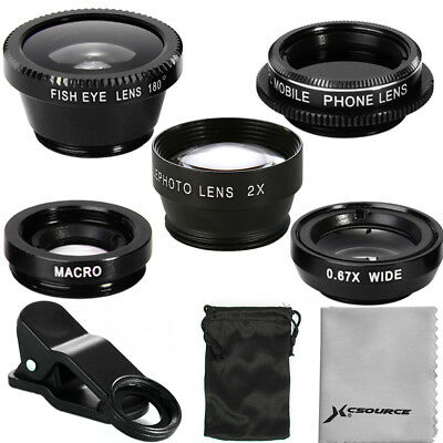 5in1 FishEye Wide Angle Macro CPL 2.0X Tele Lens Universal For iPhone 5S 6 DC648