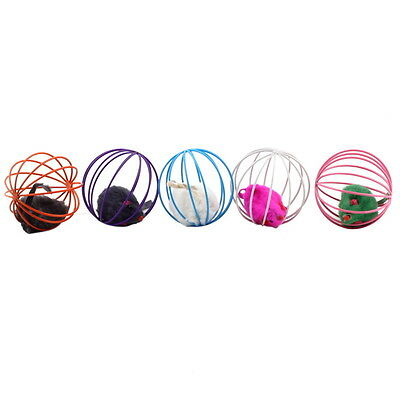 Fun Gift Play Playing Toys False Mouse in Rat Cage Ball For Pet Cat Kitten SN
