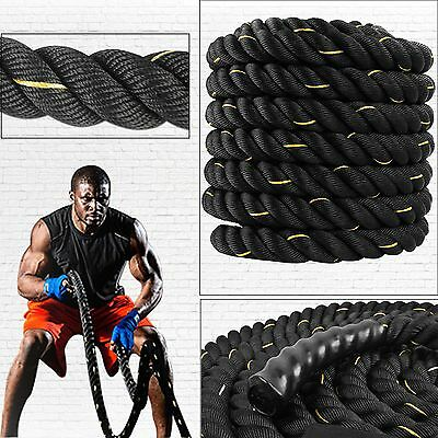 9m & 15m Battle Rope Power Strength Exercise Fitness Bootcamp Core Body 40mm
