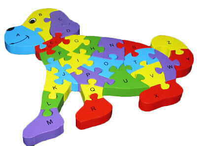 Wooden ABC Alphabet 123 Numbers Jigsaw Puzzle Educational Learning Dog