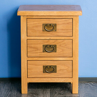 Surrey Oak Bedside Table / Waxed 3 Drawer Bedside Cabinet / Solid Wood / New