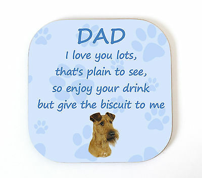 Irish Terrier 'I Love You Dad' Coaster Fun Poem Novelty Gift FROM THE DOG