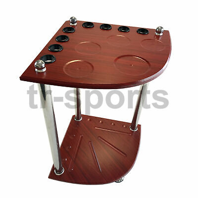 Pool Snooker Billiard Corner Cue Stand Rack (Mah) With Drink/ Ashtray/ball Rest