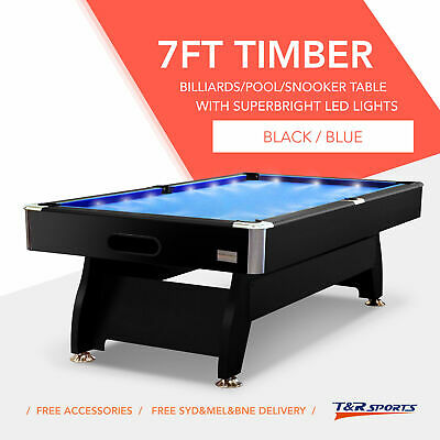 7FT BLUE MDF POOL SNOOKER TABLE with LED FREE GIFT FREE SYD MEL BNE METRO POST