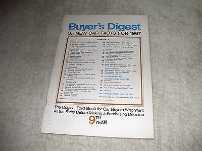 Vintage Original Ford Buyer's Digest Of New Car Facts For 1967