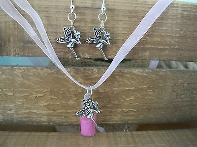 Hand made Fairy Dust Necklace and earring set Hot Pink Jewellery Party Favours