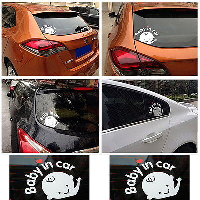 """""""Baby In Car""""Waving Baby on Board Safety Sign Car Sticker Decal 162*130mm SN"""