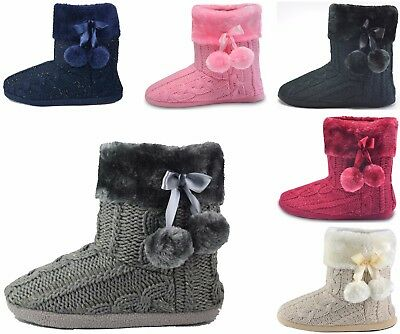 Ladies Slippers Warm Womens Indoor Slipper Boots Bootie knitted Faux Fur Grey
