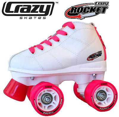 Gen3 Crazy Rocket Junior Kids Recreational Roller Skates - White & Pink Size 35