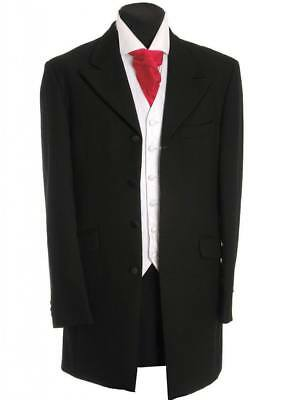 Men's Boys Prince Edward 3/4 Length Coat Black Jacket Wedding Funeral Prom Act