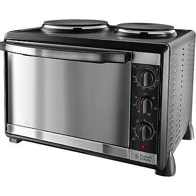 Russell Hobbs 22780 1600W 30L Mini Oven with 2 Hotplate Burners in Black