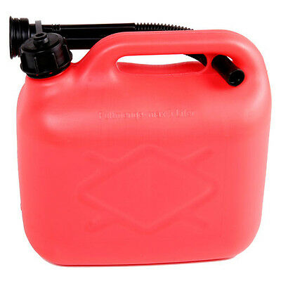 Plastic Petrol & Diesel Fuel Can with Spout Red 5L