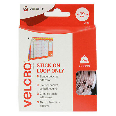 VELCRO® Brand 19mm Stick On Loop Coins x Pack of 125 - White