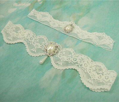 Gorgeous Pearl Rhinestone Garter Ivory Wedding Garter Set Stretch Lace Garter