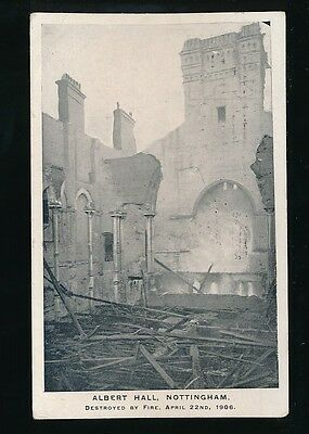 Nottinghamshire Notts NOTTINGHAM disaster Albert Hall destroyed by fire PPC 1906
