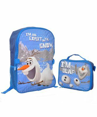 """Disney Frozen Olaf Snowman 16"""" inches backpack & Lunch Box NEW Licensed Product"""