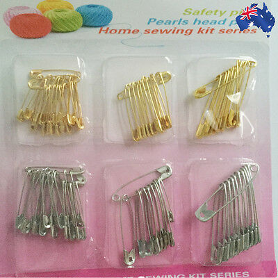 2 Packets Safety Pins Craft Sewing Jewelry Silver Gold Findings HNECL 1544x2