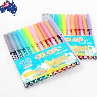 12 Colors Water Color Pens Marker Drawing Painting Art Supplies SMASE 2812