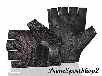Leather Mesh Padded Women Weight Lifting Training Cycle Wheelchair Black Glove's