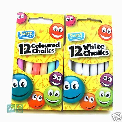 CHALK Sticks White or Assorted Colours  Packet x12 Chalk Boards Playground Craft
