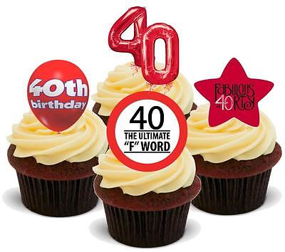 NOVELTY 40TH BIRTHDAY MIX RED NEW STAND UP Icing Edible Cake Toppers forty 40