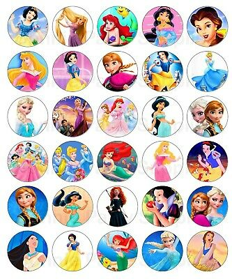 30 X Disney Princess Edible cupcake toppers -  inc Elsa,Cinderella, Ariel (DP2)