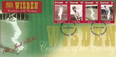 WISDEN 2000 CRICKET SIR JACK HOBBS GRENADA Set of 4 values FIRST DAY COVER