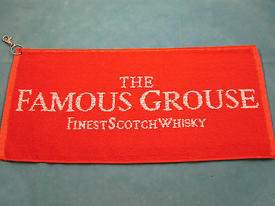 New The Famous Grouse Scotch Whisky golf towel - 49 x 22 cms - clips to golf bag