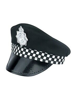 Adult Policeman  Peak Cap Police Costume Accessory Cop Hat For Fancy Dress