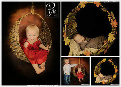 Newborn baby photography photo props handmade round circle boat basket D-4