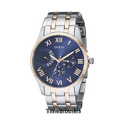 new guess watch for men blue dial two tone rose gold silver new guess watch for men blue dial two tone rose gold silver bracelet