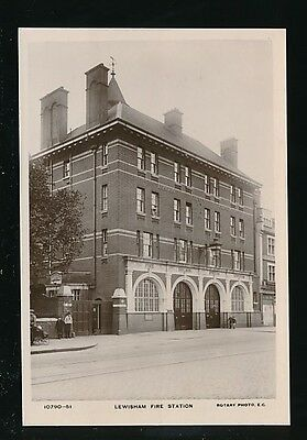 Kent Lewisham FIRE FIGHTING Fire station c1920/30s? RP PPC