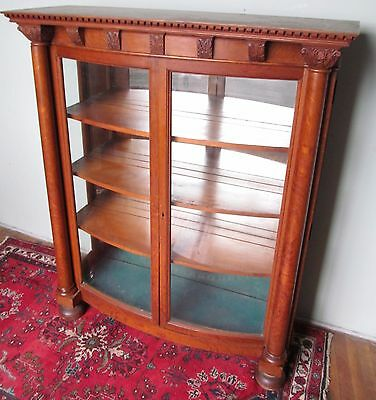19Th C Victorian Carved Oak Curved Glass Antique China Cabinet / Bookcase ~Paine