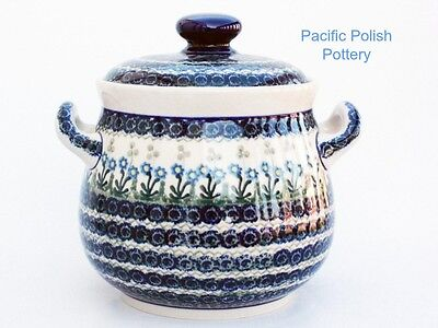 Polish Pottery Stoneware XL Canister or Tureen (173-614) Delicate Blue Flowers