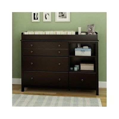 Attrayant Baby Changing Table Espresso Diaper Station Dresser Nursery Furniture Wood  Chest