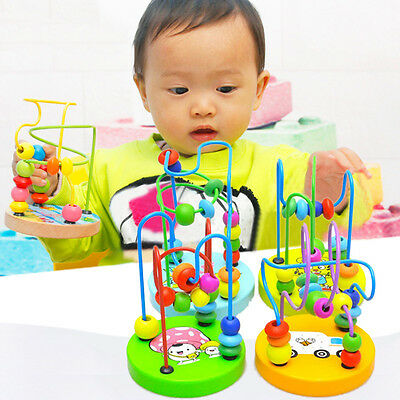 Baby Children Wooden Toy Mini Around Beads Wire Maze Colorful Educational Game