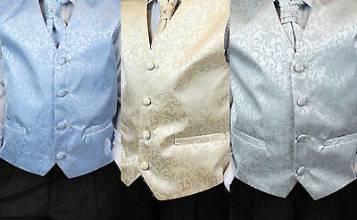 Boys Kids 4 Piece Wedding Waistcoat Suit Cravat Shirt Trouser 3 6 9 M - 14 Years