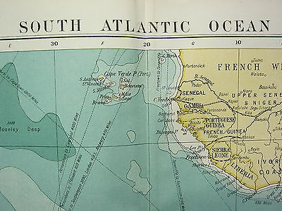 1919 Large Map ~ South Atlantic Ocean ~ South America Africa ~ Routes