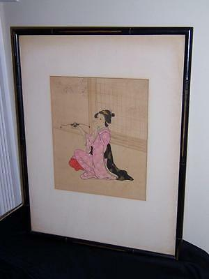 Vintage Japanese Painting On Silk Geisha Girl Balancing Instrument Spinner